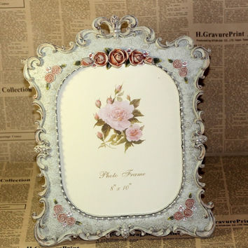 Retro Vintage Rose Flower XL Home Decor Photo Frame Picture Frame Resin Double 8'' *10''