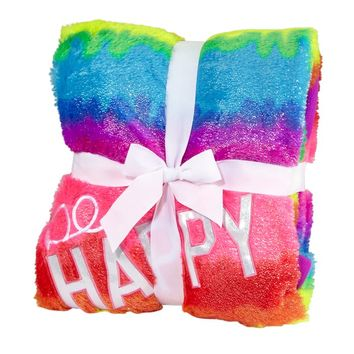 Rainbow  Be Happy  Blanket | Sleeping Bags, Pillows & Blankets | Room Accessories | Shop Justice