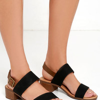 Tulum Trek Black Heeled Sandals