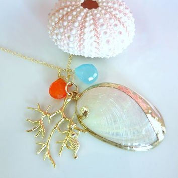 Gold Shell Coral Blue Chalcedony Seahorse Coral Gold Filled Necklace