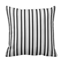Black & White Stripes (Add 3rd Color) Throw Pillow