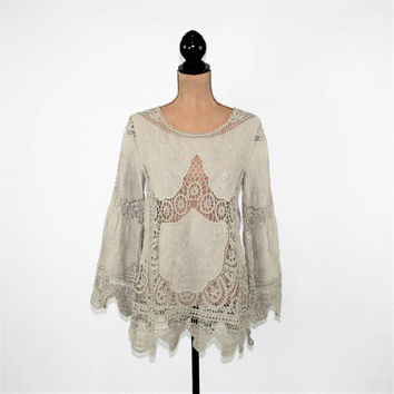Hippie Bohemian Embroidered Lace Tunic Boho Top Cotton Gray Taupe Cutwork Blouse Bohemian Clothing Hippie Clothes Womens Clothing