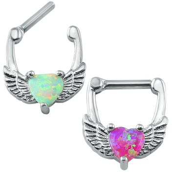 316l Stainless Steel Nose Ring 14g Cute Wing Opal Septum Clicker Ring Fashion Septum Ring Body Jewelry Piercing