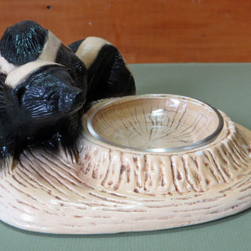 Ornamental Arts & Crafts Skunk Badger Wolverine Ashtray with glass - signed