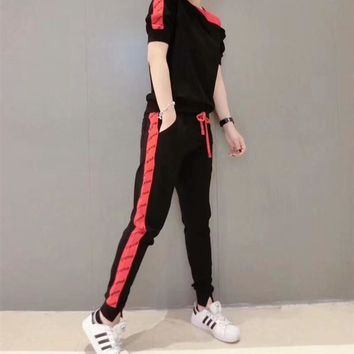 """Supreme"" Women Casual Fashion Letter Multicolor Bare Shoulder Short Sleeve Trousers Set Two-Piece Sportswear"