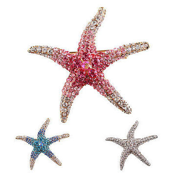 Optional Adorable Blue Crystal Rhinestone Starfish Brooches for women wedding HU