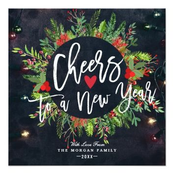 Cheers to a New Year Script Holly Wreath Greeting Card