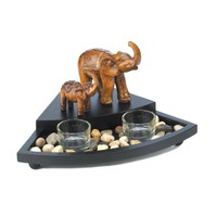 Carved Elephant Family Candle Set
