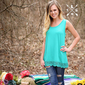 Solid Tank With Lace Trim in Turquoise