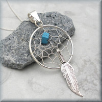 Dreamcatcher Necklace Sterling Silver Turquoise by BonnyJewelry