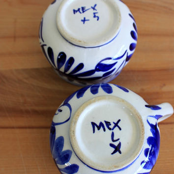 pair of vintage talavera tea cups and saucers // hand painted // mexican folk art // cobalt and white