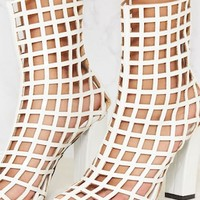 White Caged Ankle Heeled Boot