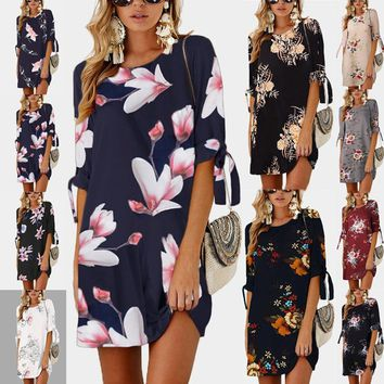 Wontive 2019 Women Summer Dress Boho Style Floral Print Chiffon Beach Dress Tunic Sundress Loose Mini Party Dress S-5XL