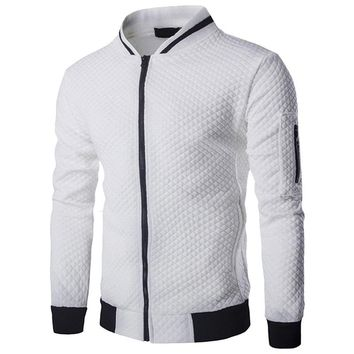 Laamei Men's Veste Homme Bomber Fit Argyle Zipper Jacket Casual Jacket 2018 Autumn New Trend White Fashion Men's Jackets Clothes