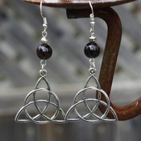 Celtic Knot and Garnet Earrings ~ Dangle Earrings ~ Mystic Knot Jewellery ~ Red Garnet Stones ~ Semi Precious Stones ~ January Birthstone