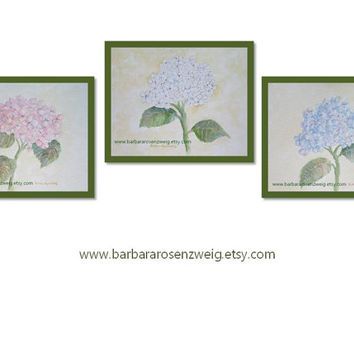 flower wall art home decor hydrangea ART PRINT SET watercolor painting 11x14 blue white pink flower print set shabby chic barbara rosenzweig