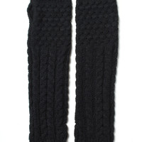 Cable Knit Long Gloves - Black