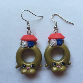 Shopkins Foodie Earrings - Best Dressed Ring A Ling - repurposed toys