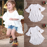 White Ruffled Cotton Outfits Top Dress Blouse 1pcs Kids Children Baby Girls Clothing pretty elegant Princess Clothes Girls New