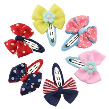 M MISM 2017 New Arrival  Dot Bow Tie Hairpins Lovely Lace Edge Hair Clip For Girls Kids Accessories 3 Colors Hairgrip Headdress