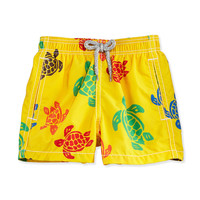 Turtle-Print Swim Trunks, Yellow/Multicolor, Size 2-6,