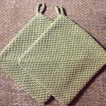 Olive green pot holders, set of 2 double thick hot pads, cotton, gift idea, house warming gift, party favor, game prize, shower gift, green
