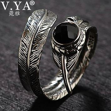 V.YA Black Onyx Stone 925 Sterling Silver Open Ring for Men Male Adjustable Thai Silver Jewelry Party Christmas Gift