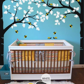 "Tree Wall Decal -  Nursery Wall Decoration - Tree Wall Sticker - Full Corner Tree decal - Large: approx 93"" x 123"" - KC036"