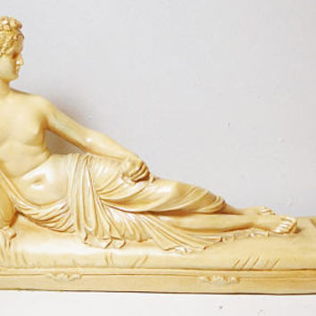 Greek Woman Venus Lounging with Apple Nude Statue on Chaise Lounge Fainting Couch Resin Large Figurine Vintage Library Office Decor