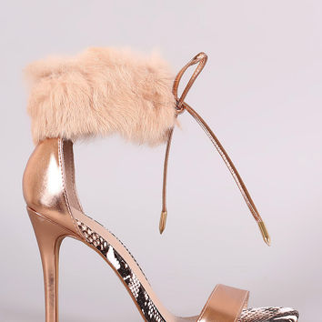 Shoe Republic LA Furry Ankle Cuff One Band Stiletto Heel