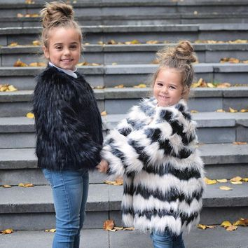 Girls Autumn Luxury Faux Fur Coats & Jackets toddler baby White with Black Striped parka kids Winter Wearm Cute Jacket 15