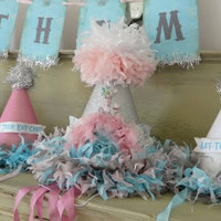 Marie Antoinette Custom Vintage Birthday Party Hat Package, Let them eat cake banner, guest hats, cupcake picks