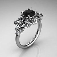 Nature Inspired 14K White Gold 1.0 Ct Black and White Diamond Leaf Vine Unique Floral Engagement Ring R1026-14KWGDBD