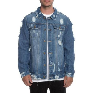 SDLA Distressed Ripped Denim Jacket in Indigo
