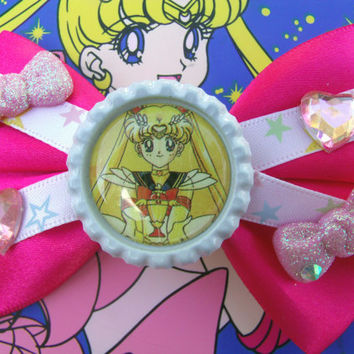Pretty Sailor Moon Kawaii Hair Bow by hobbittownjewelry on Etsy