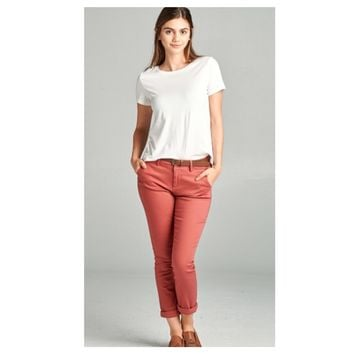 Adorable Burnt Coral Twill Pants with Belt