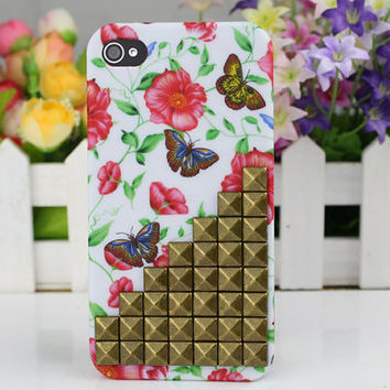Brass Stud Butterfly  Hard Case Cover for Apple iPhone 4gs Case, iPhone 4s Case, iPhone 4 Hard Case