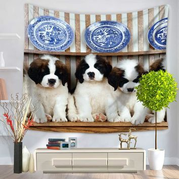 Polyester Tapestry Pet Dog Qute Printed Wall Hanging Decoration Mandala tapestry Blanket Wall beach towel arazzo da parete
