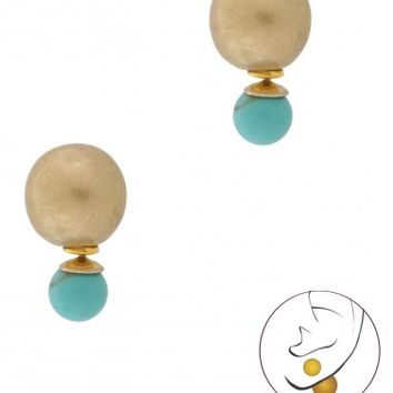 Turquoise & Gold Double Stud Earrings