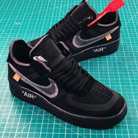 Off White X Nike Air Force 1 Low Premium Af1 Black Sport Shoes - Best Online Sale