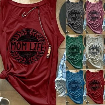MOM LIFE Letter Printed Slim Tank Top Cotton T-shirts