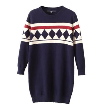 Blue Retro Diamond Preppy Style Jumper