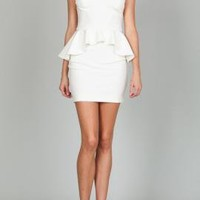 New Beginnings Mesh Yoke Peplum Dress in Snow White by Ark & Co | Sincerely Sweet Boutique