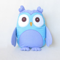 Decorative owl, monogram pillow, turquoise owl shaped pillowcase and pillow