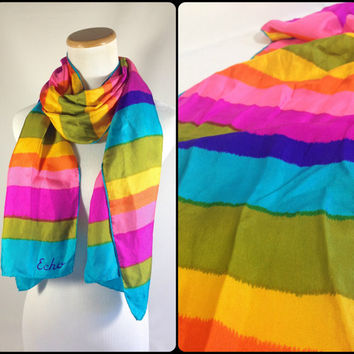 Bright Colorful Striped Silk Scarf Long Rainbow Neck Scarf Vintage Designer Scarf by Echo Festival Scarf