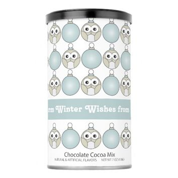 Cute Funny Owl and Christmas Ornament Pattern Hot Chocolate Drink Mix