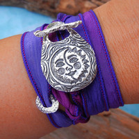 Moon Jewelry Silk Wrap Bracelet Sun and Moon by HappyGoLicky