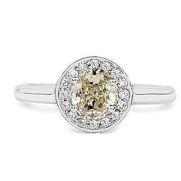 Earth Mined 18K White Gold 1.19 Carat Round Cut Genuine Yellow Diamond and White Diamond Ring