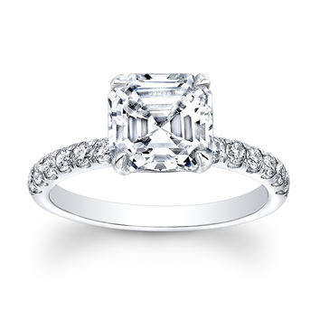 Ladies 18kt white gold diamond engagement ring 0.33 ctw G-VS2 diamonds with 2ct White Sapphire Asscher Ctr