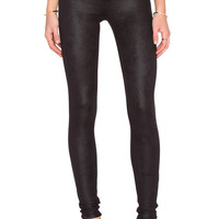 Joe's Jeans Textured Leather #Hello The Icon Skinny in Jet Black